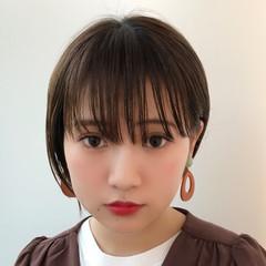 シースルーバング デート 耳かけ 大人かわいい ヘアスタイルや髪型の写真・画像