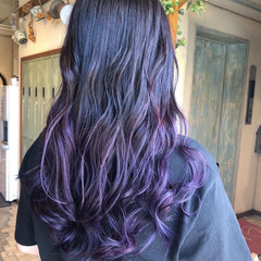 ロング グラデーションカラー ガーリー ラベンダーアッシュ ヘアスタイルや髪型の写真・画像