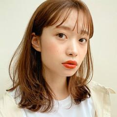 小顔ヘア 韓国ヘア ミディアム 前髪あり ヘアスタイルや髪型の写真・画像