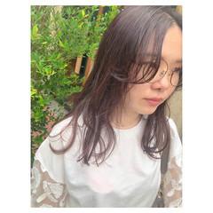 グレージュ ラベンダーピンク ナチュラル ラベンダー ヘアスタイルや髪型の写真・画像