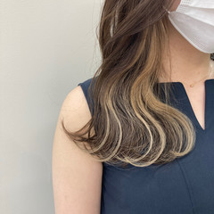 アンニュイほつれヘア イヤリングカラー インナーカラー セミロング ヘアスタイルや髪型の写真・画像