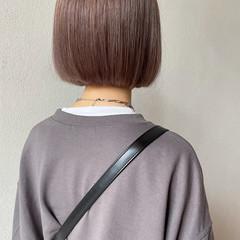 ミニボブ ストリート ラベンダーカラー ピンクラベンダー ヘアスタイルや髪型の写真・画像