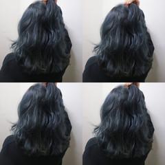 ストリート ブルー こなれ感 外ハネ ヘアスタイルや髪型の写真・画像