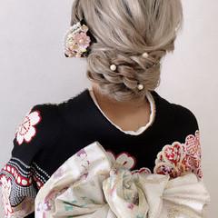 セミロング 振袖ヘア 和装ヘア 結婚式ヘアアレンジ ヘアスタイルや髪型の写真・画像