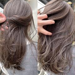 デート グレージュ ナチュラル 簡単ヘアアレンジ ヘアスタイルや髪型の写真・画像