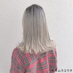 外国人風 ガーリー ハイトーン ダブルカラー ヘアスタイルや髪型の写真・画像