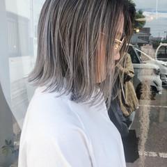 外国人風カラー コントラストハイライト ボブ ハイライト ヘアスタイルや髪型の写真・画像