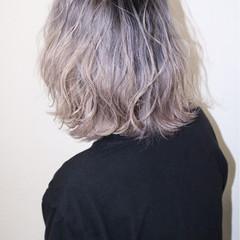 透明感 ハイトーン ボブ パープル ヘアスタイルや髪型の写真・画像
