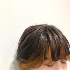 アプリコットオレンジ オレンジ オレンジカラー ショート ヘアスタイルや髪型の写真・画像
