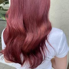 ベリーピンク ピンクアッシュ ガーリー ロング ヘアスタイルや髪型の写真・画像