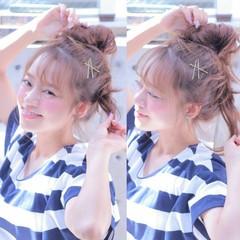 メッシーバン 夏 ショート お団子 ヘアスタイルや髪型の写真・画像