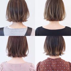 ハイライト バレイヤージュ ボブ 外ハネボブ ヘアスタイルや髪型の写真・画像