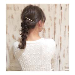 フェミニン ヘアアレンジ セミロング 簡単ヘアアレンジ ヘアスタイルや髪型の写真・画像
