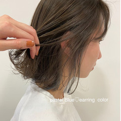 おしゃれ ベージュ イヤリングカラー 切りっぱなし ヘアスタイルや髪型の写真・画像