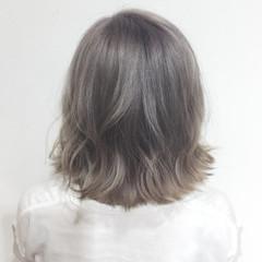 透明感 ボブ ラベンダーアッシュ ガーリー ヘアスタイルや髪型の写真・画像