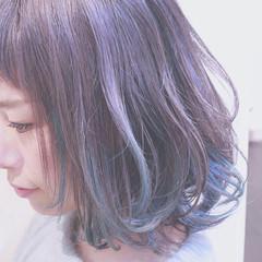 色気 アッシュ 斜め前髪 インナーカラー ヘアスタイルや髪型の写真・画像