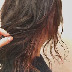 インナーカラー ピンク バレンタイン ガーリー ヘアスタイルや髪型の写真・画像