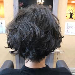エレガント パーマ かっこいい 黒髪 ヘアスタイルや髪型の写真・画像