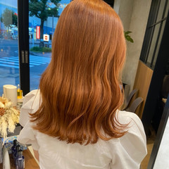 ナチュラル アプリコットオレンジ オレンジ オレンジブラウン ヘアスタイルや髪型の写真・画像