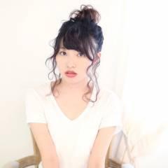 丸顔 ミディアム 卵型 黒髪 ヘアスタイルや髪型の写真・画像