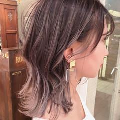 外国人風カラー インナーカラー ミディアム 透明感カラー ヘアスタイルや髪型の写真・画像