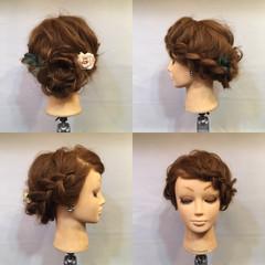 セミロング 編み込み 結婚式 裏編み込み ヘアスタイルや髪型の写真・画像