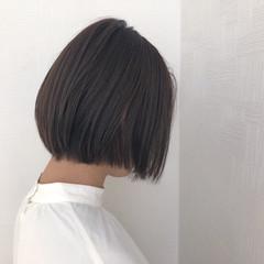 ボブ シアーベージュ グレージュ ナチュラル ヘアスタイルや髪型の写真・画像