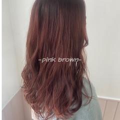 セミロング ピンクブラウン ピンク ピンクラベンダー ヘアスタイルや髪型の写真・画像