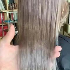 ラベンダーカラー ロング ハイトーン ブロンドカラー ヘアスタイルや髪型の写真・画像