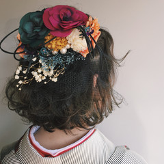 フェミニン ドライフラワー ボブ 学校 ヘアスタイルや髪型の写真・画像