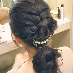 ヘアアレンジ 簡単ヘアアレンジ 黒髪 セミロング ヘアスタイルや髪型の写真・画像