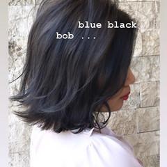 ナチュラル 切りっぱなしボブ 暗髪 ブルー ヘアスタイルや髪型の写真・画像