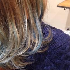 ミディアム ストリート ガーリー カラーバター ヘアスタイルや髪型の写真・画像