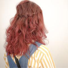 ショート ハーフアップ ヘアアレンジ グラデーションカラー ヘアスタイルや髪型の写真・画像