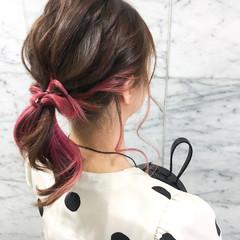 ストリート ダブルカラー ピンク ヘアアレンジ ヘアスタイルや髪型の写真・画像
