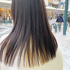 インナーカラー セミロング ナチュラル 大人ヘアスタイル ヘアスタイルや髪型の写真・画像