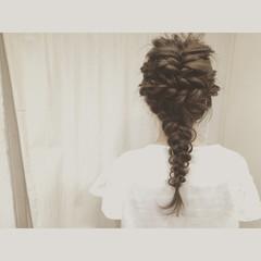 くるりんぱ 夏 フィッシュボーン ロング ヘアスタイルや髪型の写真・画像