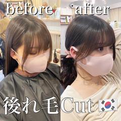 セミロング フェミニン 後れ毛 韓国風ヘアー ヘアスタイルや髪型の写真・画像