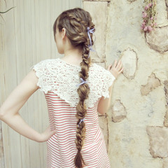 ヘアアレンジ くるりんぱ ロング 波ウェーブ ヘアスタイルや髪型の写真・画像