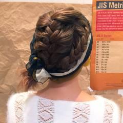 編み込み ナチュラル ボブ ヘアアレンジ ヘアスタイルや髪型の写真・画像