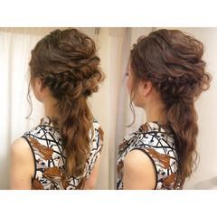 セミロング 簡単ヘアアレンジ 波ウェーブ ショート ヘアスタイルや髪型の写真・画像