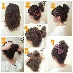 ゆるふわ ヘアアレンジ ミディアム お団子 ヘアスタイルや髪型の写真・画像
