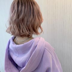 ボブ ショートヘア ピンク ピンクアッシュ ヘアスタイルや髪型の写真・画像
