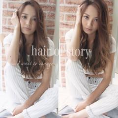 アッシュ ハイライト 外国人風 ロング ヘアスタイルや髪型の写真・画像