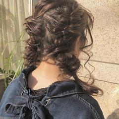 ガーリー デート 簡単ヘアアレンジ セミロング ヘアスタイルや髪型の写真・画像