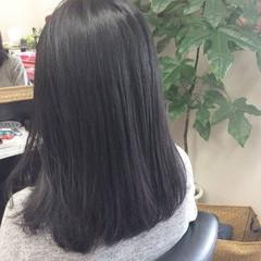 ナチュラル 黒髪 ストレート ミディアム ヘアスタイルや髪型の写真・画像