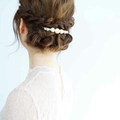 ギブソンタック 結婚式 ミディアム ヘアピン ヘアスタイルや髪型の写真・画像