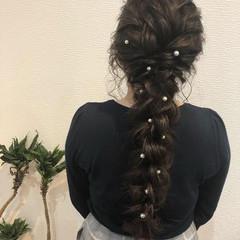編みおろし ロング 編み込み ヘアアレンジ ヘアスタイルや髪型の写真・画像