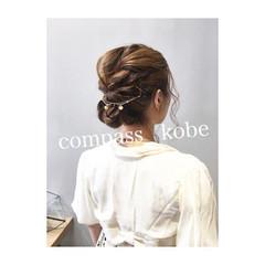 ロブ 簡単ヘアアレンジ ミディアム ナチュラル ヘアスタイルや髪型の写真・画像