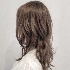 ナチュラル 外国人風 ハイライト セミロング ヘアスタイルや髪型の写真・画像